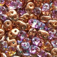 Superduo Beads Crystal Copper Rainbow - 10 grams